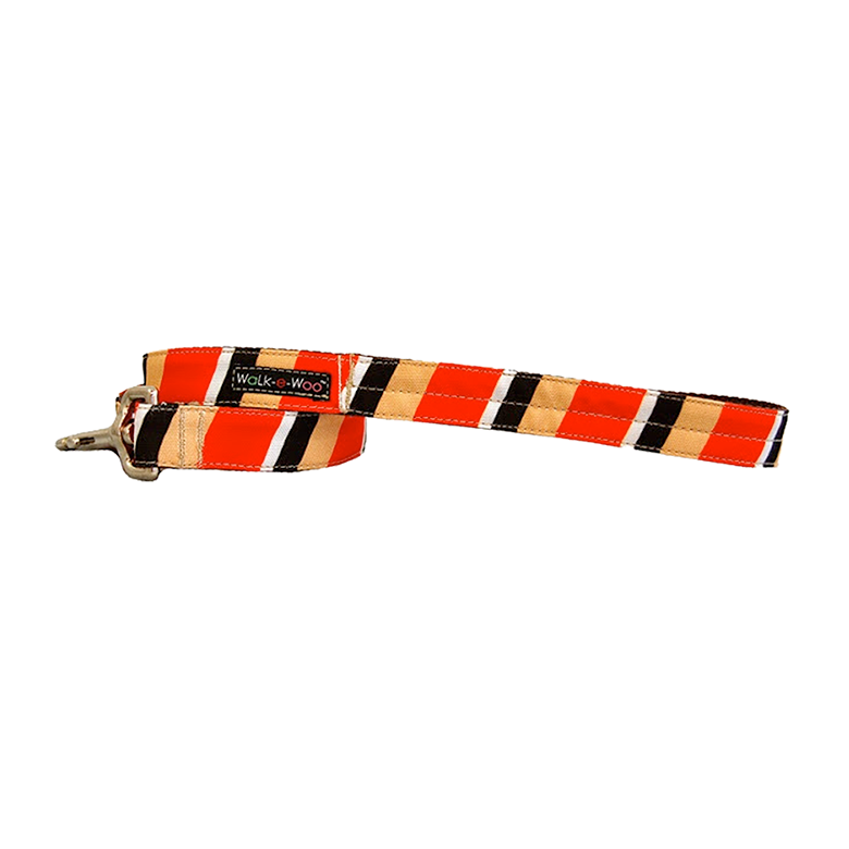 Dog Lead | Tan & Red Stripes