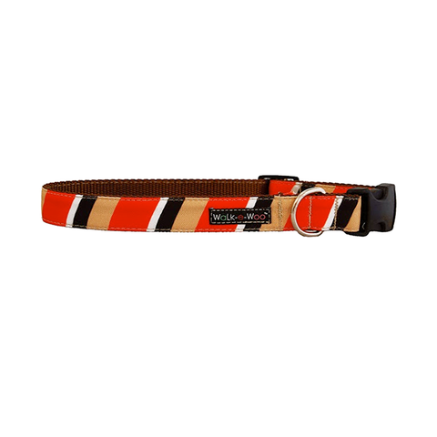 Dog Collar | Tan & Red Stripes