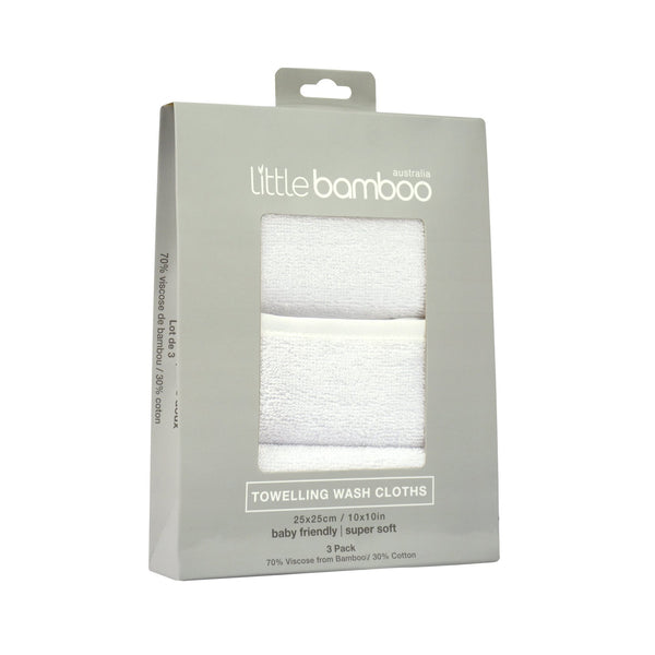 Baby Bamboo Towelling Wash Cloths | Set of 3