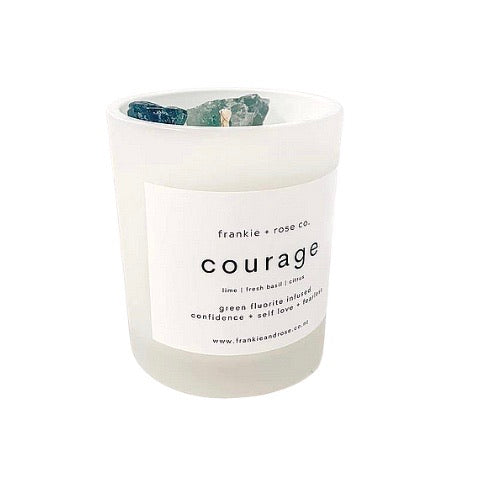 Crystal Infused Candle | COURAGE - Green Fluorite