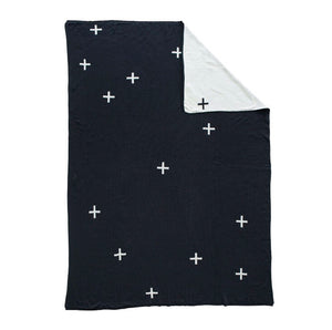 Knit Throw | Black Cross