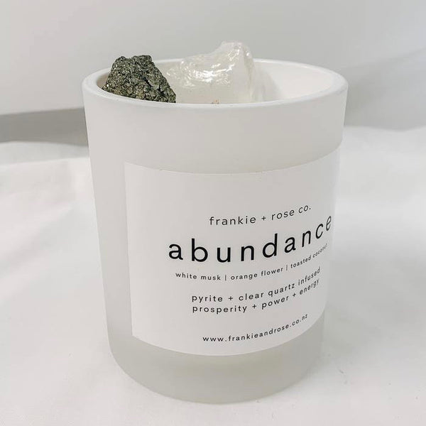 Crystal Infused Candle | ABUNDANCE - Pyrite + Clear Quartz