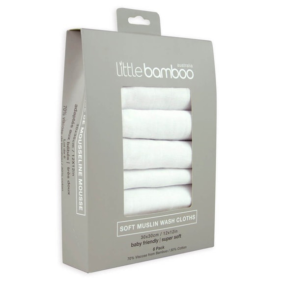 Baby Bamboo Muslin Wash Cloths | Set of 6
