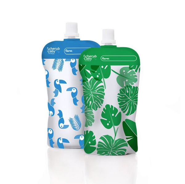 Reusable Baby Food Pouches | Toucan Blue + Rainforest Green