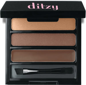 Instantly create the illusion of fuller, thicker brows that look like your own eyebrow hair and not a drawn on penciled look.   Palette includes two brow powders for blending that are infused with micronized fibers to simulate hair. Extra Dark Colors
