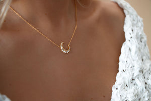 Crystal Crescent Moon Necklace 18K Gold Vermeil