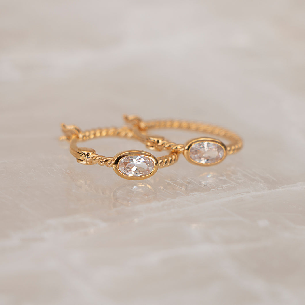 Crystal Twist Hoops 18K Gold Vermeil