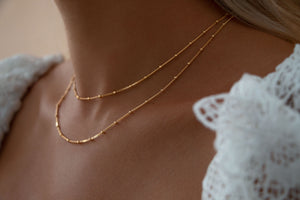 Double Strand Beaded Satellite Chain Necklace 18K Gold Vermeil