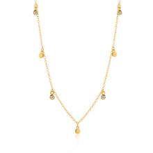 Disk And Crystal Bezel Multi Charm Necklace 18K Gold Vermeil