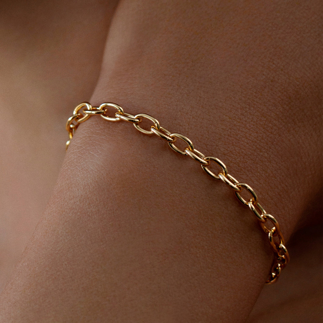 Oval Link Chain Bracelet 18K Gold Plated