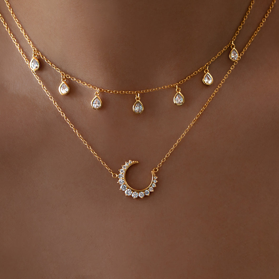 Crystal Teardrop & Crystal Crescent Moon Necklace Set 18K Gold Vermeil