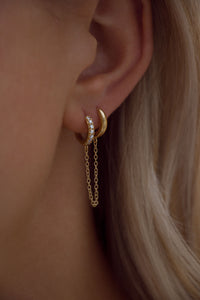 Double Hoop Chain Huggies - 18K Gold Vermeil