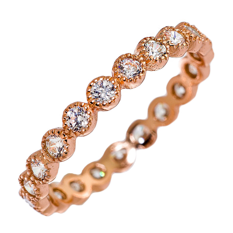 Rose-Gold Bezel CZ Stackable