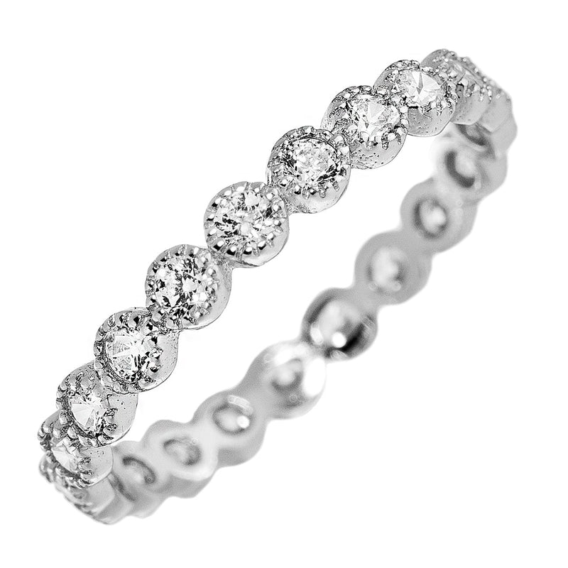 Silver Bezel CZ Stackable