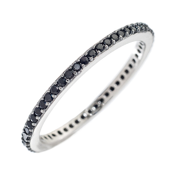 Black Silver CZ Stackable