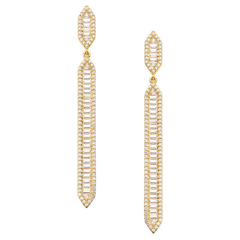 Gold Art Deco Baguette Earring