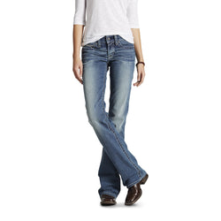 R.E.A.L. Mid Rise Stretch Whipstitch Boot Cut Jean Rainstorm