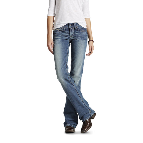 Ariat® R.E.A.L. Mid Rise Stretch Whipstitch Boot Cut Jean Rainstorm 10016202