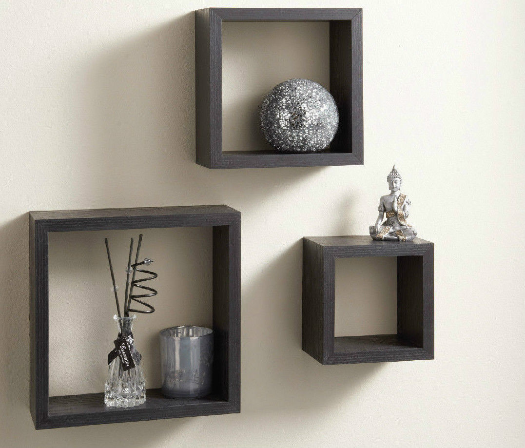 Modern Set of 3 Floating Wall Display Cube Shelves