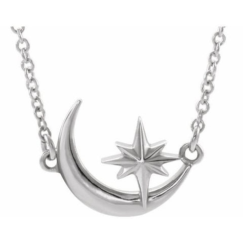 Crescent Moon and Star Necklace