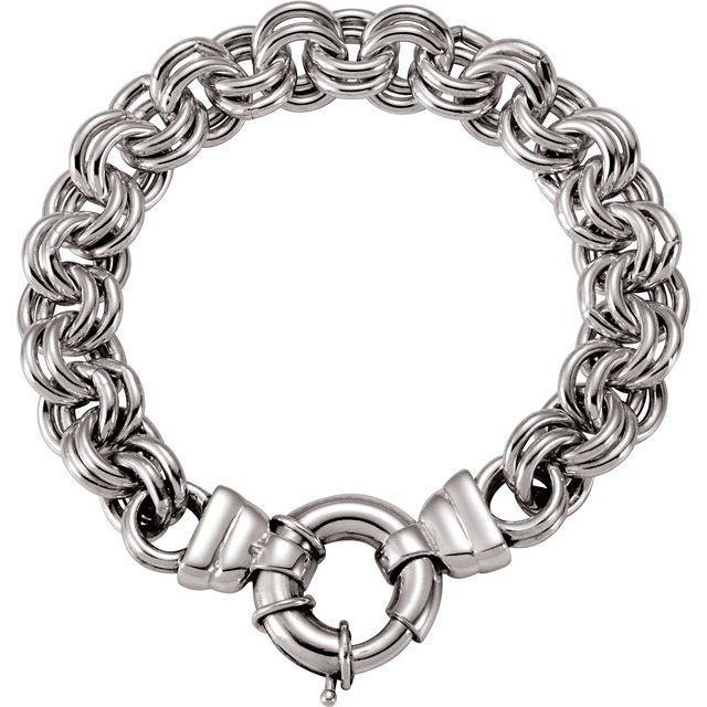 "Sterling Silver Solid Double Cable 8"" Bracelet"