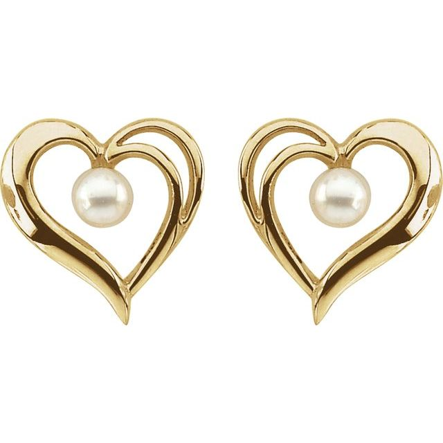 14K Yellow Cultured Akoya Pearl Heart Earrings