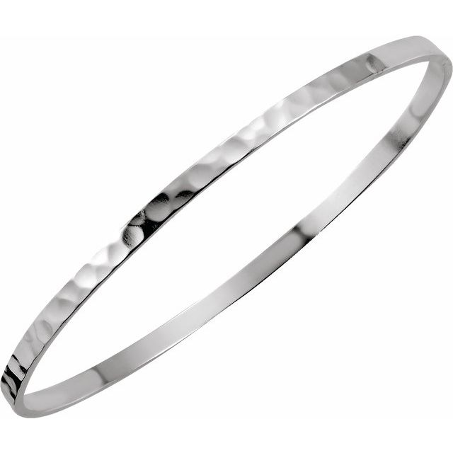 Sterling Silver 3.25 mm Hammered Bangle Bracelet