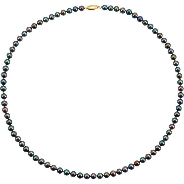 "14K Yellow Freshwater Cultured Black Pearl 20"" Necklace"