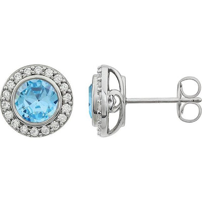 Sterling Silver 6 mm Round Light Blue Cubic Zirconia Halo-Style Earrings