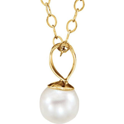 "14K Yellow Freshwater Cultured Pearl 15"" Necklace"