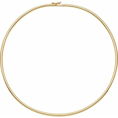 "14K Yellow 3 mm Omega 18"" Chain - TreasureFineJeweler"