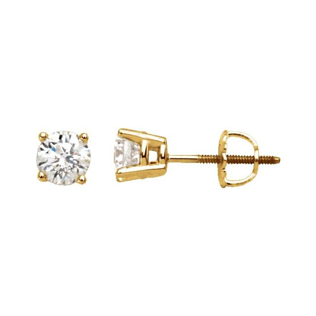 14K Yellow 1/5 CTW Diamond Stud Earrings