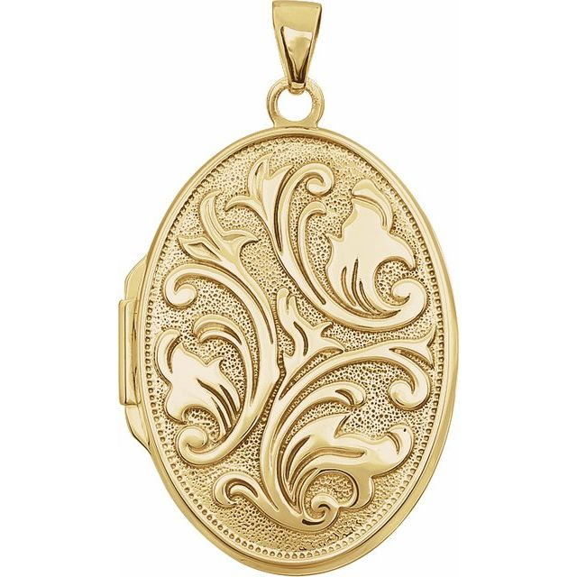 14K Yellow Oval Embossed Locket