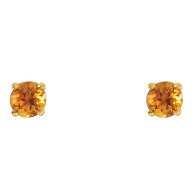 14K Yellow 3 mm Round Imitation Citrine Youth Birthstone Earrings