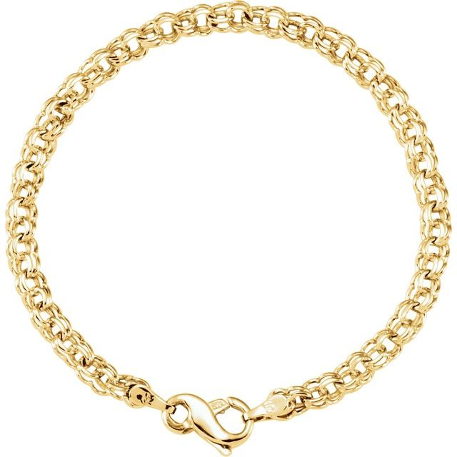 14K Yellow Solid Double Link Charm Bracelet