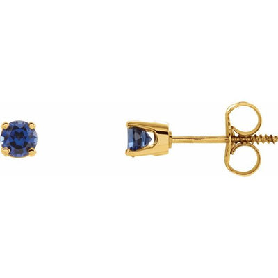 14K Yellow 3 mm Round Imitation Blue Sapphire Youth Birthstone Earrings