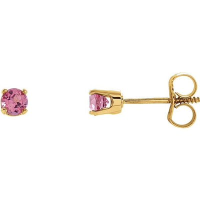 14K Yellow 3 mm Round Imitation Pink Tourmaline Youth Birthstone Earrings