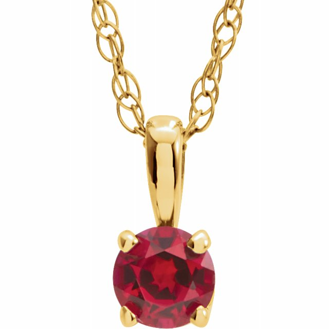 "14K Yellow 3 mm Round July Imitation Ruby Youth Birthstone 14"" Necklace"