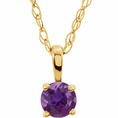 "14K Yellow 3 mm Round February Imitation Amethyst Youth Birthstone 14"" Necklace"