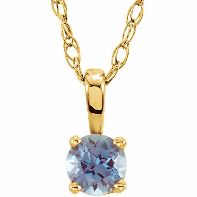 "14K Yellow 3 mm Round June Imitation Alexandrite Youth Birthstone 14"" Necklace"