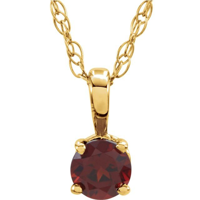 "14K Yellow 3 mm Round January Imitation Mozambique Garnet Youth Birthstone 14"" Necklace"
