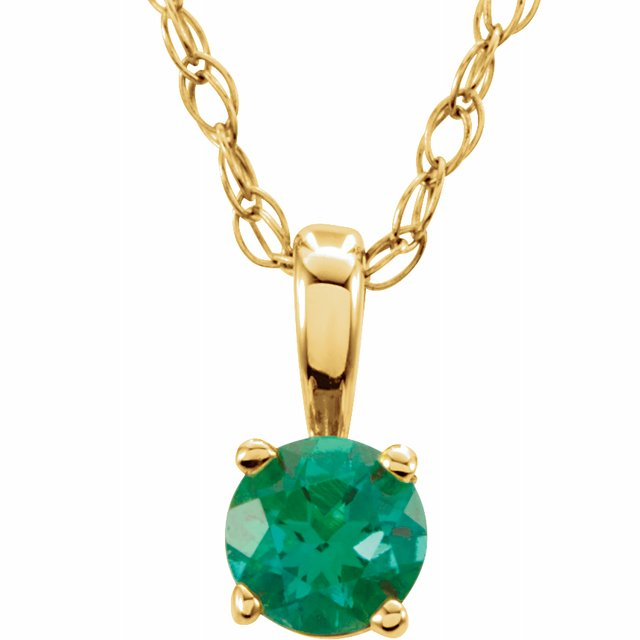 "14K Yellow 3 mm Round May Imitation Emerald Youth Birthstone 14"" Necklace"