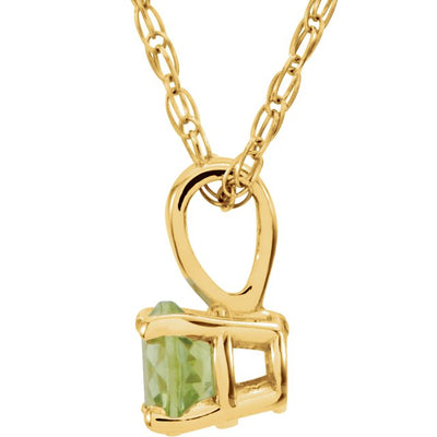 "14K Yellow 3 mm Round August Imitation Peridot Youth Birthstone 14"" Necklace"