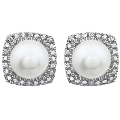 Sterling Silver Freshwater Cultured Pearl & .015 CTW Diamond Earrings