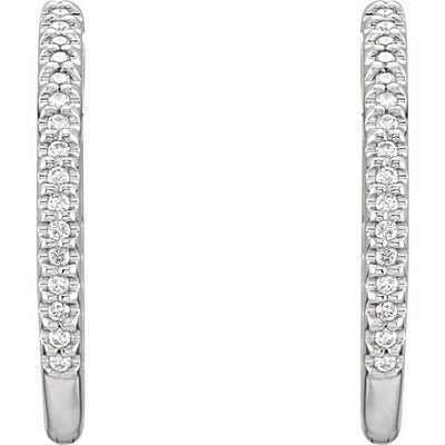 14K White 3/4 CTW Diamond Inside-Outside Hinged 26.7 mm Hoop Earrings