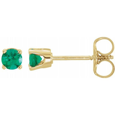 14K Yellow 3 mm Round Imitation Emerald Youth Birthstone Earrings