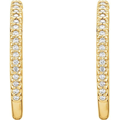 14K Yellow 3/4 CTW Diamond Inside-Outside Hinged 26.7 mm Hoop Earrings