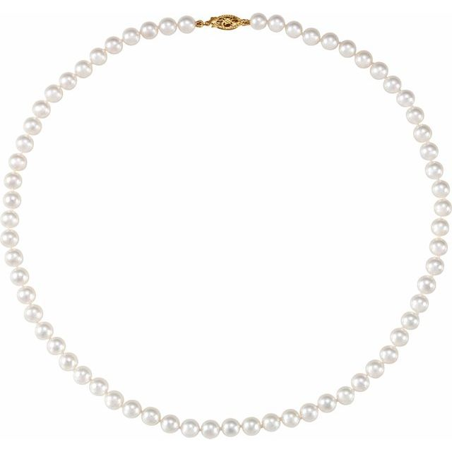 "14K Yellow 6-6.5 mm Akoya Cultured Pearl 18"" Strand"