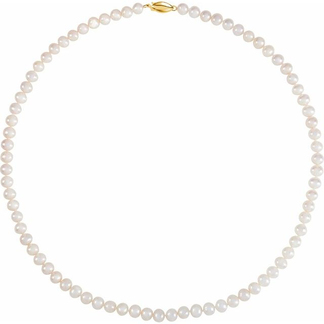 "5.5-6.0 mm White Freshwater Cultured Pearl 18"" Strand with 14K Yellow Clasp"