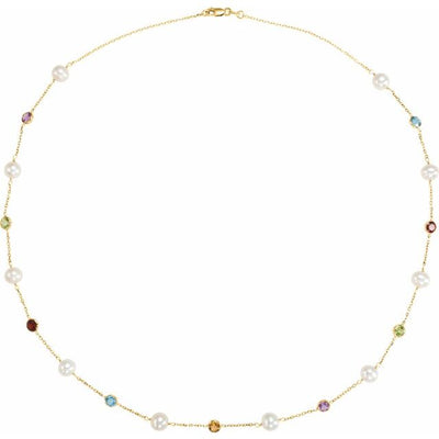 "14K Yellow Freshwater Cultured Pearl & Multi-Gemstone Station 18"" Necklace"